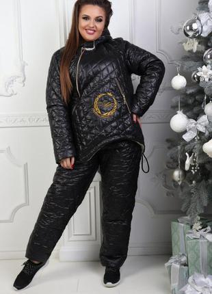 Зимний женский черный костюм на овчине