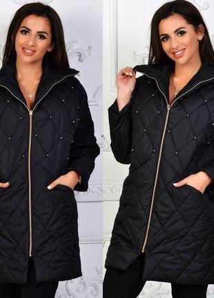 Куртка пальто стеганная демисезонная черная