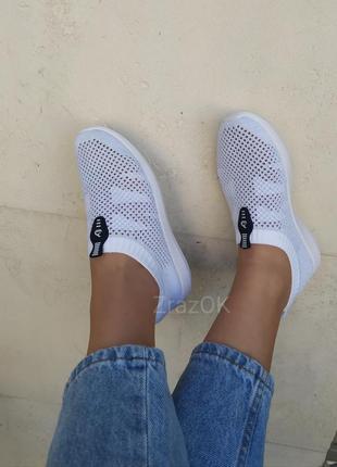 Белые слипоны кеды без шнурков кроссовки мокасины текстильные
