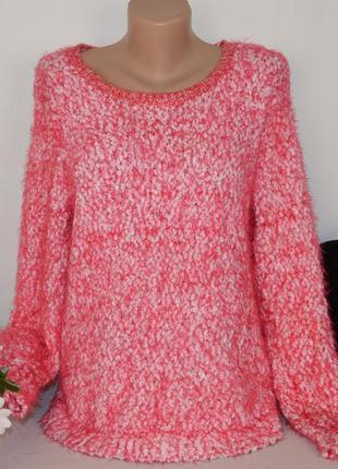 """Брендовая розовая теплая кофта свитер джемпер букле """"травка"""" t..."""