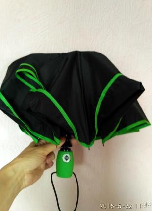 Зонт автомат карманный антиветер с зелёной каймой