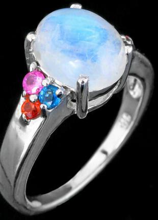 Кольцо СЕРЕБРО 925 Натуральный лунный камень мульти сапфир