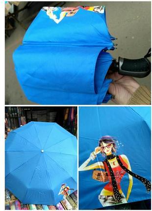 Зонт автомат компактный на 10 спиц,с рисунком.