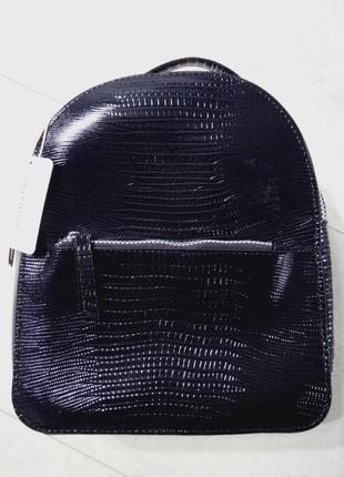 Крутой лаковый рюкзак под кожу крокодила,городской рюкзак
