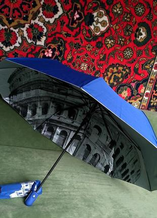 Зонт полуавтомат внутри рисунок на серебре синий, антиветер