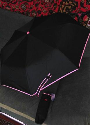 Зонт автомат карманный антиветер чёрный с розовой каймой