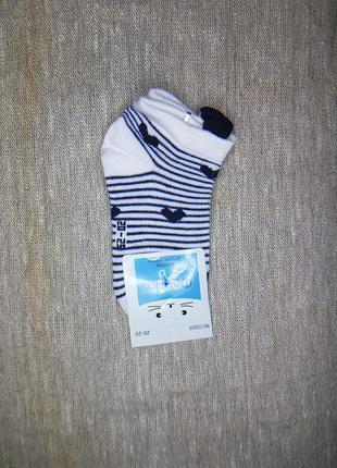 Детские хлопковые заниженные носки с рисунком c ушками 20-25