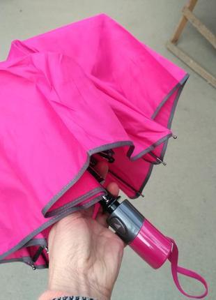 Зонт женский полуавтомат спицы-карбон. антиветер.серая кайма
