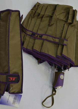 Зонт оливковый с каемкой однотонный полуавтомат на 10 спиц