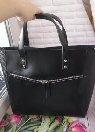 Женская кожаная сумка большая шопер женский жіноча шкіряна