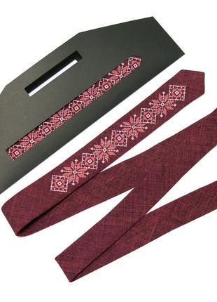 Модна тонка вишита краватка №662