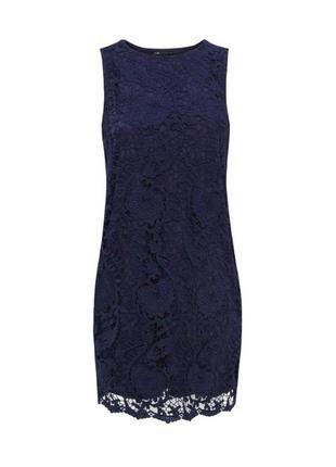 Вечернее праздничное коктельное синее кружевное платье без рук...