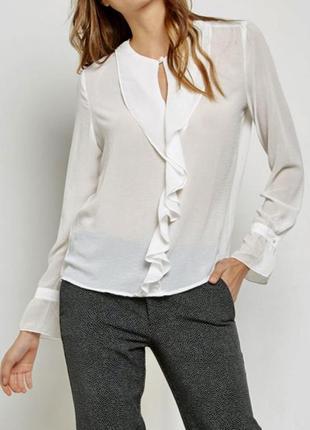 %🔥🔥🔥нарядная блуза белая с рюшами mango