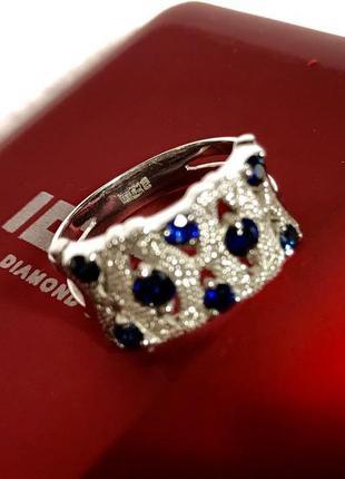 Золотое кольцо с сапфирами 💍 «16,5» украина