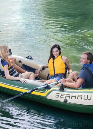Четырехместная надувная лодка Intex 68351 Seahawk 4 Set