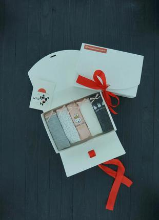 Подарочный набор женский трусики 5 шт,серый/розовый зайчик