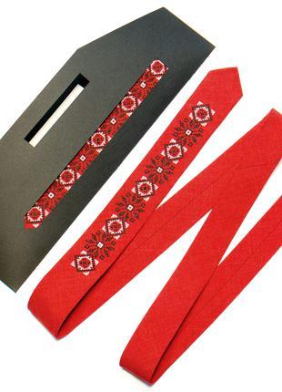 Вузька вишита краватка №737
