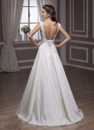 Белое свадебное платье французское кружево а-силуэт s-m салонн...
