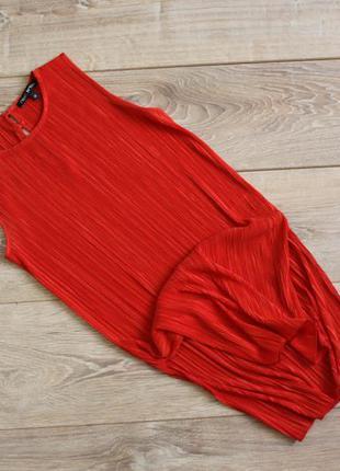 Красная майка плиссе, топ плиссе с разрезами по бокам