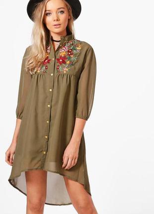 Платье-рубашка с вышивкой, хаки