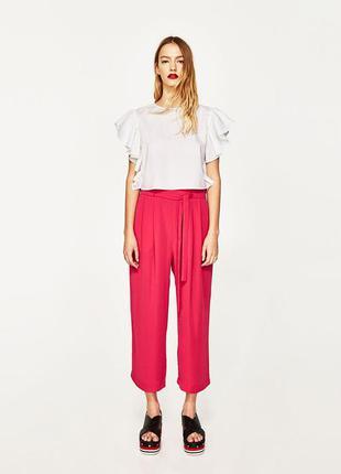 Новые кюлоты с поясом, розовые штаны-кюлоты