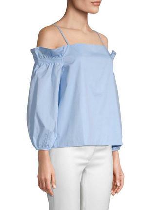 Хлопковый топ. рубашка в полоску с открытыми плечами с объемны...