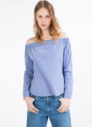 Хлопковая блуза, рубашка на плечи в полоску от zara