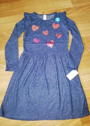 Платье carters glitter heart jersey dress