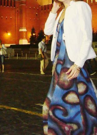 Шикарный синий сарафан с принтом в пол, длинное летнее платье ...