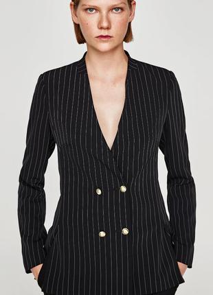 Двубортный пиджак, жакет в полоску от zara