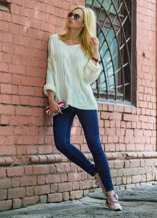 Объемный оверсайз свитер вязаный косами кофта крупной вязки v-...