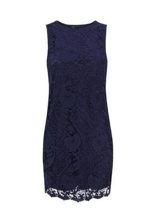 Комфортное летнее синее кружевное платье без рукавов, дорогое ...