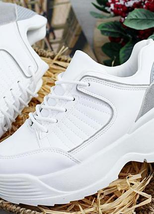 Кроссовки белые на высокой подошве  36,38,40