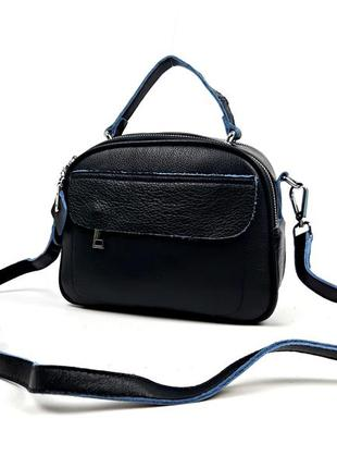 Женская сумка из натуральной кожи синяя, princessa lady's bags