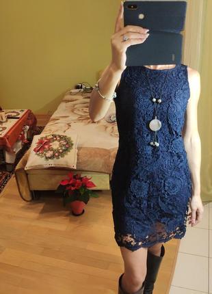 Коктельное синее кружевное платье без рукавов, дорогое кружево...