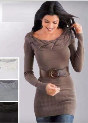 Черное трикотажное платье туника вязаное bonprix мини с косами...