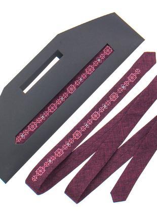 Тонка краватка з вишивкою №836