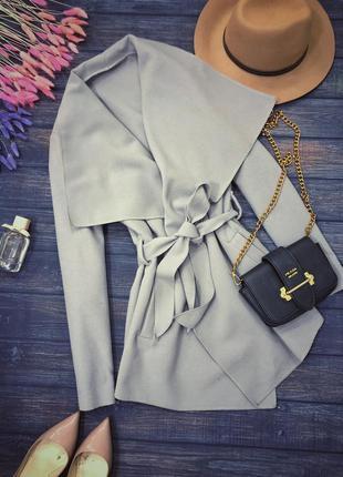 Пальто серо голубое единый размер с-м-л