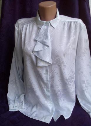 Блузка с жабо,натуральный шелк, белая рубашка