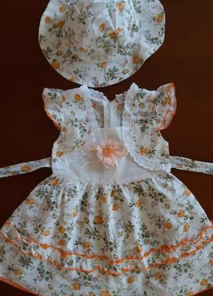 Платье со шляпкой в деревенском стиле на 2 года