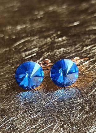 Шикарные серьги медицинское золото с кристаллами камнями сваро...