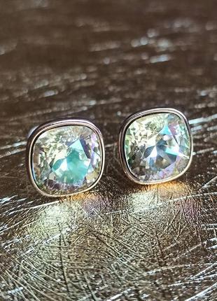 Пусеты медицинское золото с кристаллами камнями сваровски swar...