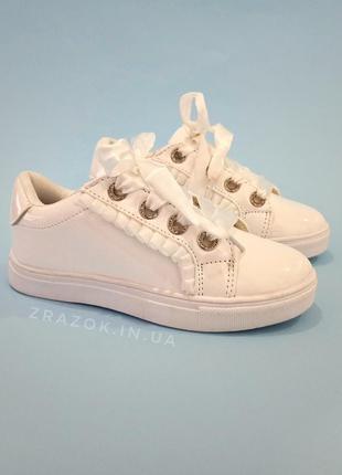 Белые кроссовки с бантиком кеды с бантом лаковые туфли с лентами