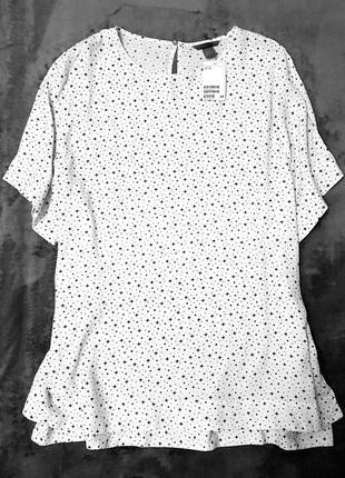 H&m + блуза блузка звёздочки белая большой размер