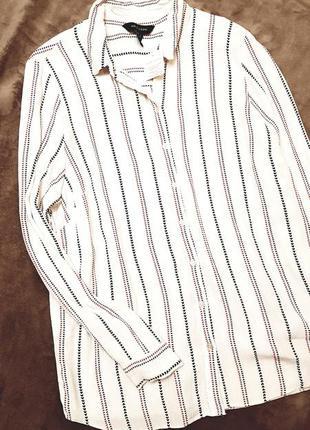 New look рубашка длинный рукав белая в полоску сердечками блуз...
