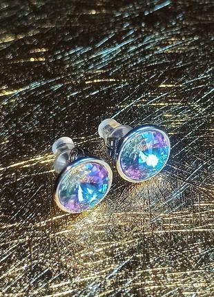 Пусеты медицинская сталь с кристаллами камнями сваровски swaro...