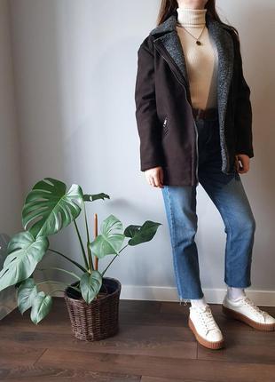 Коричневая куртка авиатор весна осень теплая зима
