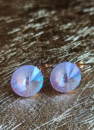 Розовые серьги медицинское золото с кристаллами камнями сваров...