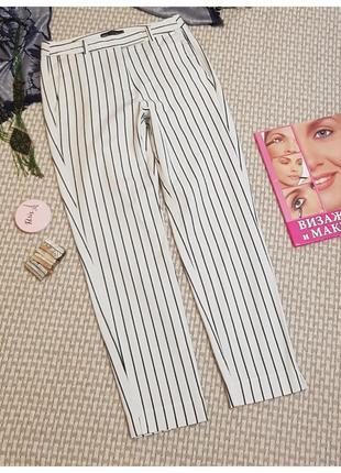 Белые брюки в полоску marks&spencer/укороченные брюки в полоску
