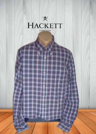 🍀🍀hackett london стильная мужская рубашка дл рукав в клетку ор...